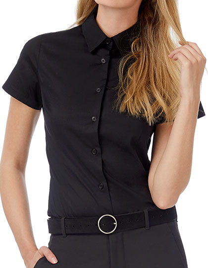 Poplin Shirt Black Tie Short Sleeve / Women | B&C