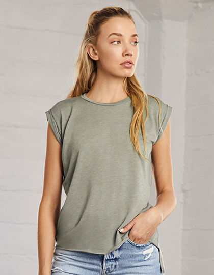 Womens Flowy Muscle Tee with Rolled Cuff | bella+canvas