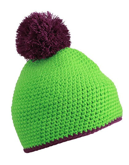 myrtle beach-Pompon Hat with Contrast Stripe