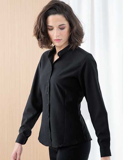 Ladies Mandarin Shirt Roll Tab Sleeve | Henbury
