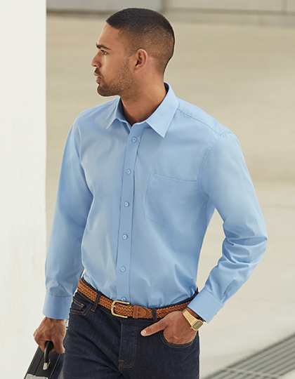 Men´s Long Sleeve Poplin Shirt | Fruit of the Loom
