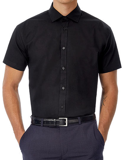 Poplin Shirt Black Tie Short Sleeve / Men | B&C