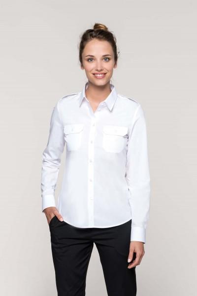 Langarm Pilotenhemd für Damen | Kariban