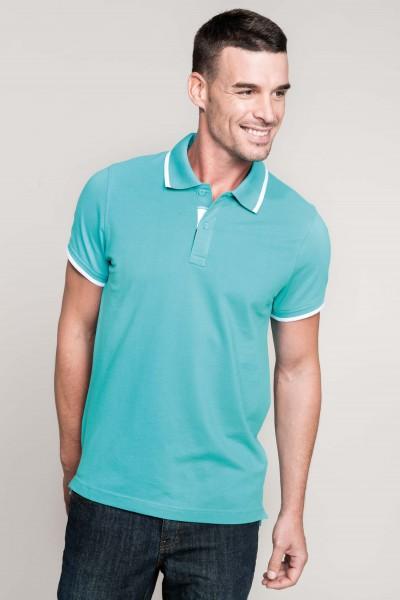 Herren Kontrast Baumwolle Poloshirt Kurzarm | Kariban