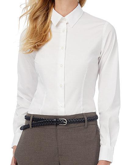 Poplin Shirt Black Tie Long Sleeve / Women   B&C